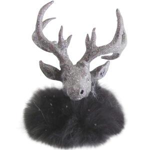 X-Mas Dekotier , Ms193584-6-1 , Grau , Kunststoff, Textil , Uni , 14x16x15 cm , lackiert,Plüsch , Kunsthandwerk, handgemacht, handgemalt , 0086050133