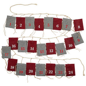 X-Mas Adventskalender grau, rot , 10022507 Adventskalender , Textil , 320x20x5 cm , zum Befüllen, zum Hängen , 003579029403