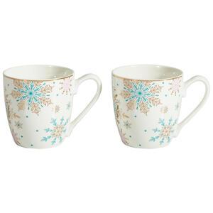 X-Mas Tassenset 2-teilig keramik porzellan weiß, goldfarben , 10025712 Jumbobecherset , 350 ml , 31x31x13 cm , bedruckt , 003579029901