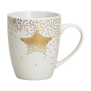 X-Mas Tassenset 2-teilig keramik porzellan weiß, goldfarben , 10021877 Becherset , 300 ml , 31x31x13 cm , bedruckt , 003579029602