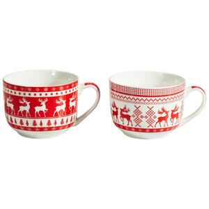 X-Mas Tasse , 10055526 , Rot, Weiß , Keramik , 15x8x11 cm , 003579029904