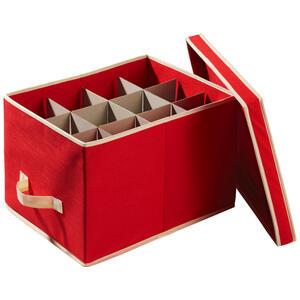 X-Mas Aufbewahrungsbox für 24 kugeln , 685211 , Rot , Kunststoff , 39.5x25.5x30 cm , Deckel abnehmbar, faltbar , 003754183301