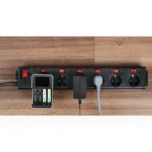 Hama Mehrfachsteckdose 6-fach Steckerleiste, mit Schalter »1,4 m, XL, 90° gedreht«