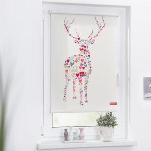 Seitenzugrollo »Klemmfix Motiv Rentier Weihnachten«, LICHTBLICK, Lichtschutz, ohne Bohren, freihängend, bedruckt