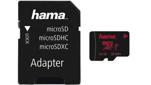 Hama microSDXC 64GB UHS Speed Class 3 UHS-I 80MB/s + Adapter/Foto