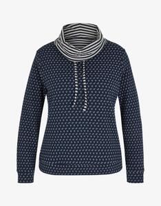 Via Cortesa - Sweatshirt mit weitem Rollkragen und Muster-Mix