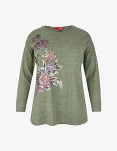 Thea - Flausch-Shirt mit Blumen-Pailletten-Stickerei