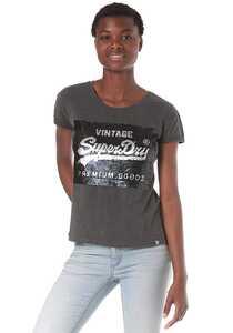 SUPERDRY Premium Sequin Slim Bf - T-Shirt für Damen - Grau