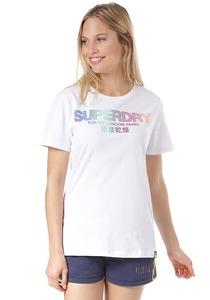 SUPERDRY City Nights Ombre Puff Entry - T-Shirt für Damen - Weiß