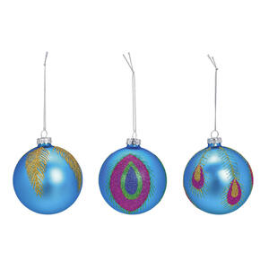 X-Mas Christbaumkugel-set 12-teilig blau , 10028080 , Glas , 8 cm Schubladen , 003579021820