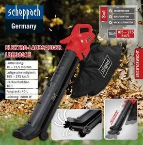 Scheppach 3in1 Elektro- Laubsauger LBH3800E