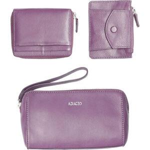 Adagio Geschenk-Set, 3-tlg, Leder, Geldbörse, Schlüsseletui, Kosmetiktasche, für Damen