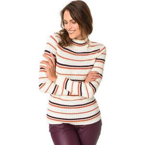 MANGUUN Shirt, Rollkragen, Streifen-Muster, Rippstruktur, für Damen