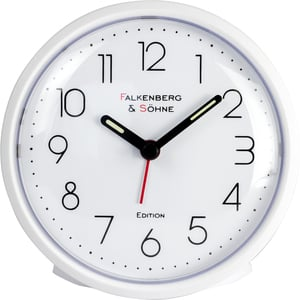 Falkenberg & Söhne Premium Wecker, mit Punkten als Minutenanzeige - Weiß