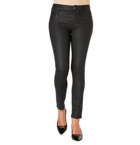 Angels Stoffhose, Leder-Optik, Regular Fit, Reißverschlusstaschen, für Damen