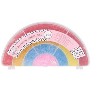 Glasperlen in Regenbogenbox