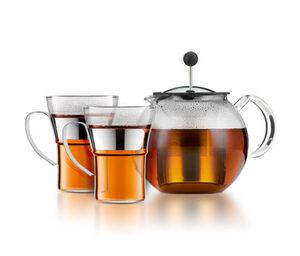 BODUM® Teebereiter mit Glasgriff und Deckel, ca. 1 l, inkl. 2 Teegläser