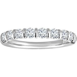 Moncara Damen Ring, 585er Weißgold mit 9 Diamanten