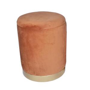 Ambia Home Hocker samt recyclingholz orange , F82-137-Groß , Holz, Metall, Textil , Uni , 44 cm , lackiert,lackiert, Struktur,Samt,Nachbildung , Stauraum , 003469001202