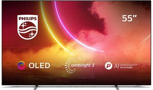 Philips Ambilight TV 55OLED805/12 55-Zoll OLED TV (4K UHD, P5 AI Perfect Picture Engine, Dolby Vision, Dolby Atmos, HDR 10+, Sprachassistent, Android TV) Mattgrau/Dunkel Chrom (2020/2021 Modell) [Ener