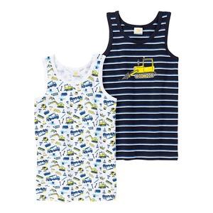 Jungen-Unterhemd mit Baustellen-Muster, 2er Pack