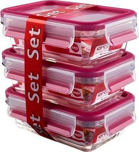 EMSA Clip & Close Frischhaltedosen Glas, 3-teiliges Set, rot