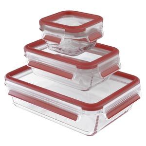 1 x Emsa Clip  Close Glas Frischhaltedosen-Set Inhalt: 0,2/ 0,5/ 1,3 Liter