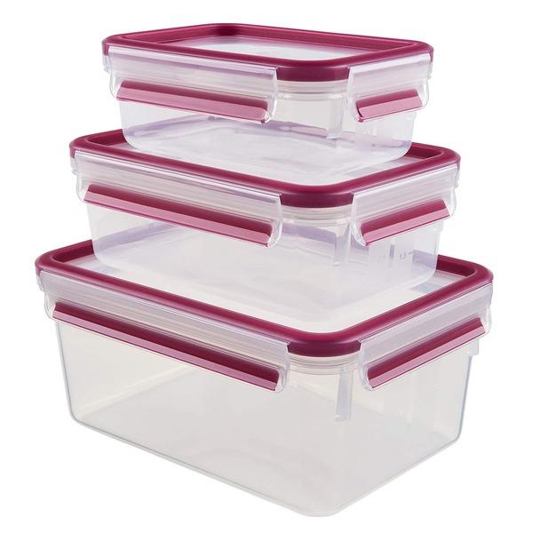 1 x Emsa CLIP  CLOSE 2.0 Frischhaltedosen 3er-Set, Inhalt: 0,55 / 1,00 / 2,30 Liter, Farbe: Transparent/Himbeer.