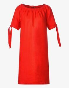Street One - Leinen-Kleid mit Carmenausschnitt und Schleifendetail