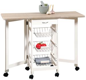 Kesper Küchenwagen mit 2 ausklappbare Arbeitsplatten weiß/eiche