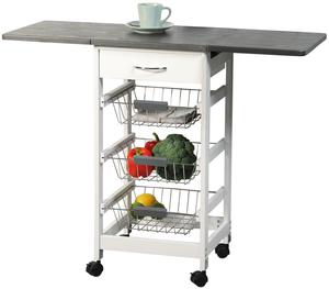Kesper Küchenwagen mit 2 ausklappbare Arbeitsplatten weiß/grau