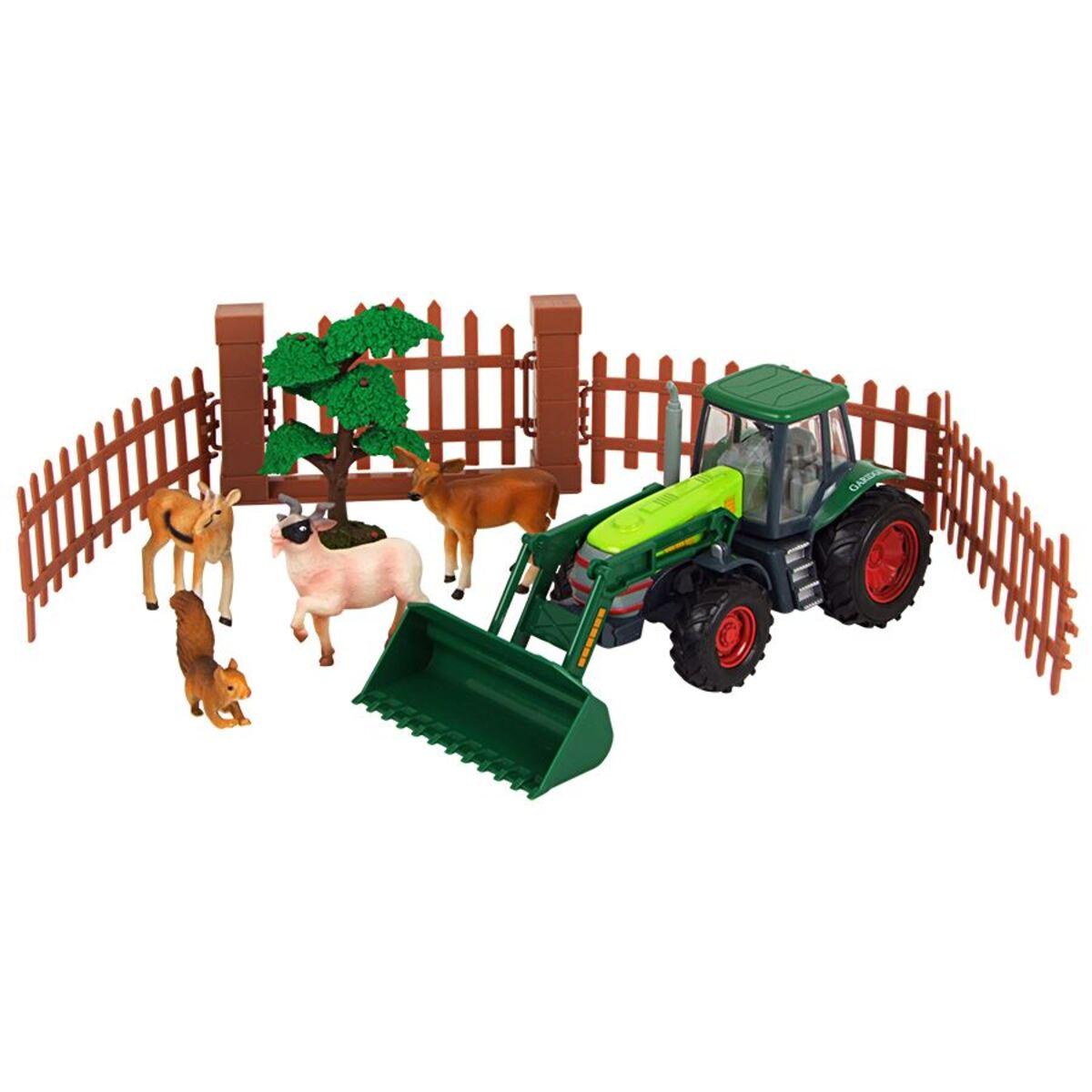 Bild 1 von Bauernhofset mit grünem Trecker, Tieren und Zubehör 10-teilig
