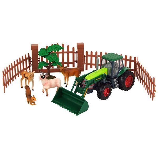 Bauernhofset mit grünem Trecker, Tieren und Zubehör 10-teilig