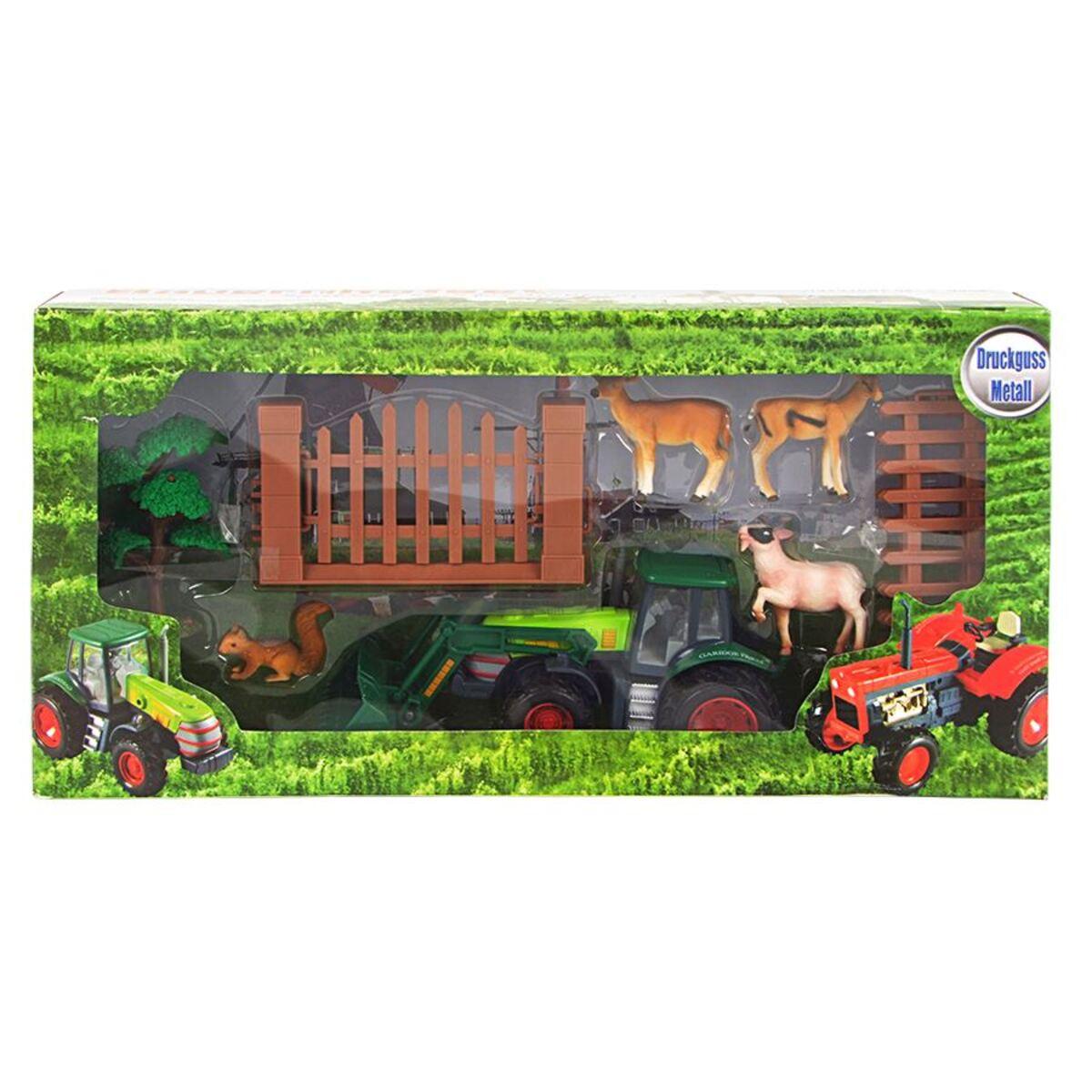 Bild 2 von Bauernhofset mit grünem Trecker, Tieren und Zubehör 10-teilig