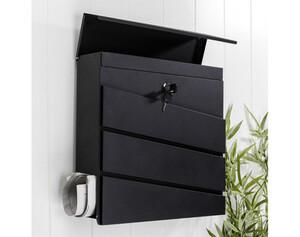 Briefkasten aus Metall, schwarz  Maße: ca. 37 x 10,5 x 37cm