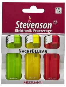 Stevenson Elektronik-Feuerzeuge, 3 Stück