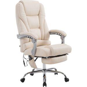 CLP Chefsessel Pacific Kunstleder mit Massagefunktion l Höhenverstellbarer Bürostuhl mit ausziehbarer Fußablage l Max. belastbar bis 150 kg... creme