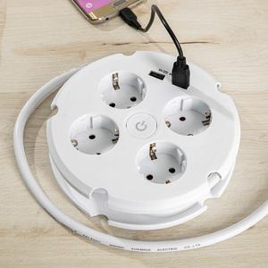 Powertec Electric Rundsteckdose 4-fach mit 2 USB-Anschlüssen