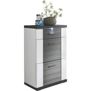 Xora Kommode graphitfarben, weiß , Manhattan , Metall , 3 Schubladen , 65x107x42 cm , Nachbildung , stehend, Beleuchtung,stehend, Beleuchtung,stehend, Beleuchtung , 000067036609