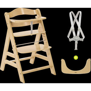 Hauck KOMBIHOCHSTUHL Buche Alpha+ , 661079 Alpha+ , Naturfarben , Holz , 56x80x48 cm , Fußstütze verstellbar, höhenverstellbar, 5-Punkt-Gurt, Schrittgurt , 001911005601