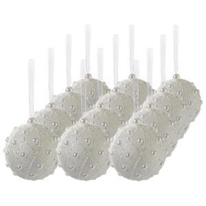 X-Mas Christbaumkugel-set 12-teilig weiß , 456587 , Kunststoff , Abstraktes , 003754387301