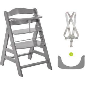 Hauck KOMBIHOCHSTUHL Buche Alpha+ , 661178 Alpha+ , Grau , Holz , 56x80x48 cm , Fußstütze verstellbar, Sitzfläche verstellbar, höhenverstellbar, 5-Punkt-Gurt, Schrittgurt , 001911002802