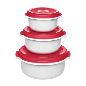 Emsa Mikrowellenset , 518999 , Rot, Weiß , Kunststoff , 19x25x20 cm , glänzend , optimale Hitzeverteilung, geruchsneutral, geschmacksneutral , 003262037501