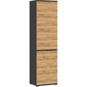 XXXLutz Garderobenschrank anthrazit, eichefarben , Gw-Lissabon , Holzwerkstoff , 5 Fächer , 54x200x40 cm , Nachbildung , Beimöbel erhältlich , 001258019105