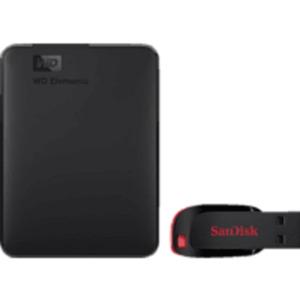 WD Elements™ Portable 1TB HDD 2.5 Zoll + SanDisk Cruzer Blade 32 GB, 1 TB HDD, 2.5 Zoll, extern
