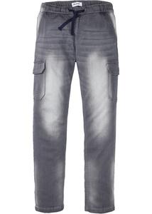 Slim Fit Sweat-Jeans mit Cargotaschen, Straight