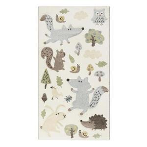 Sigikid Kinderteppich 80/150 cm weiß, taupe, pastellgrün, pastellblau , Sigikid Forest , Textil , Tier , 80x150 cm , für Fußbodenheizung geeignet, in verschiedenen Größen erhältlich, Fasern th