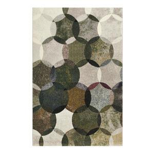 Esprit Webteppich 80/150 cm grün, multicolor, dunkelgrün, olivgrün , Modernina , Textil , Graphik , 80x150 cm , für Fußbodenheizung geeignet, in verschiedenen Größen erhältlich, Fasern thermo