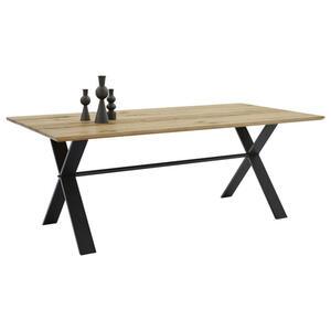 Musterring Esstisch eiche massiv rechteckig schwarz, eichefarben , Turin -Mr- , Holz , 100x76x180 cm , gehobelt, gewachst, Natur, Struktur,Echtholz , in verschiedenen Größen erhältlich , 001475018