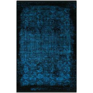 Dieter Knoll Vintage-teppich 200/290 cm schwarz, türkis , Castello Colour M240H-214 , Textil , Abstraktes , 200x290 cm , Hochflor , für Fußbodenheizung geeignet, in verschiedenen Größen erhältl